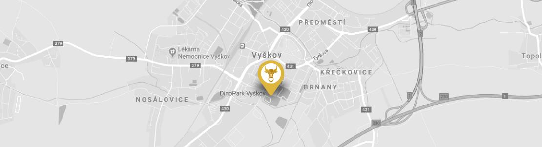 mapa hotelu Selský Dvůr ve Vyškově